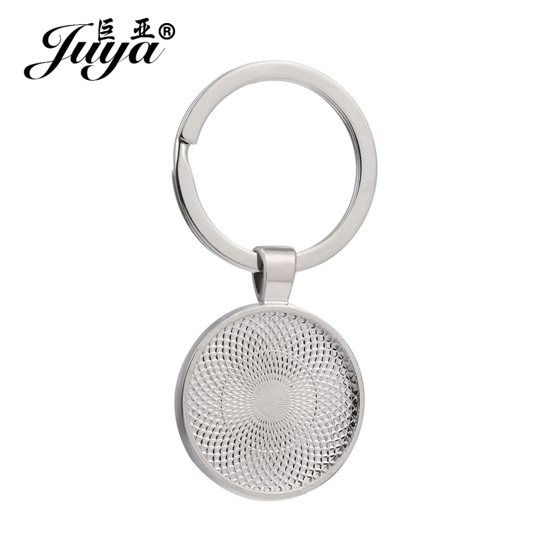 5/10pcs 25mm Inner Size Blank Keychain Pendant Base Handmade Key Chain Keyring Fit 25mm Glass DIY Jewelry Making Accessories