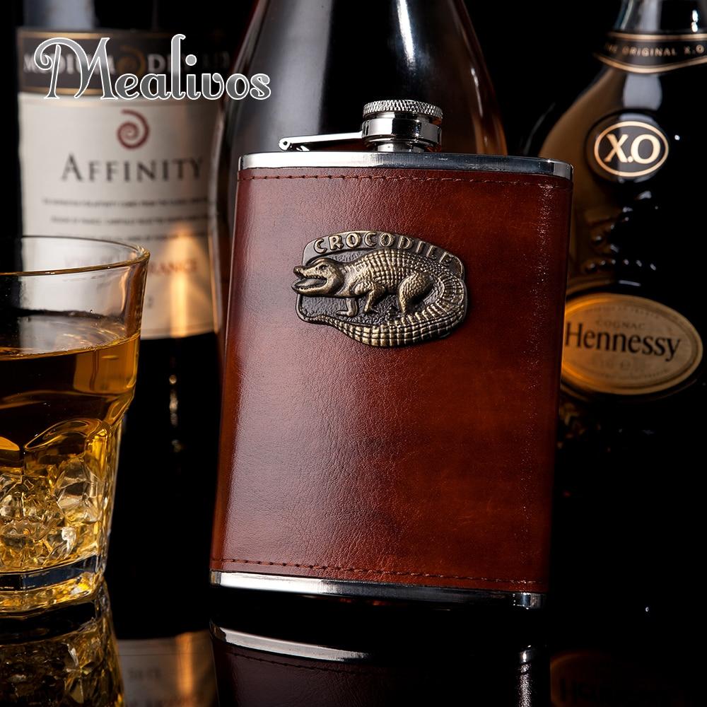 Brown Liquor Hip Flask Mens Gift 9oz Whiskey Alcohol Wine Flagon Drink Bottle