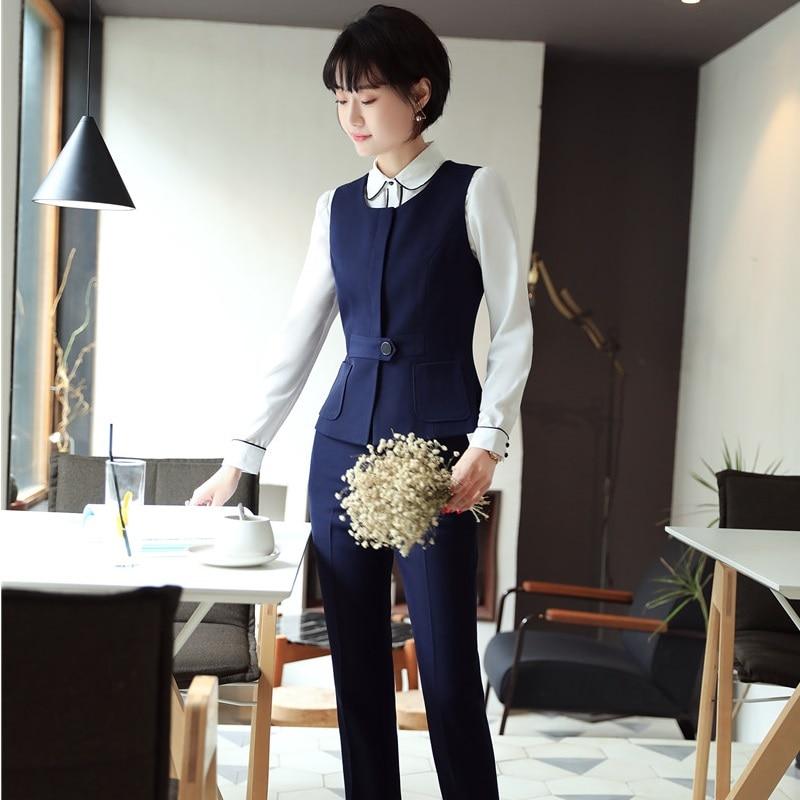 Femmes Ensembles Uniforme Styles Hauts Navy De Blazer Travail D'affaires Bureau Et Gilet Avec Veste Bleu black Designs Marine Formelle 2 Blue Manteau Pantalons Pièce p7qwa
