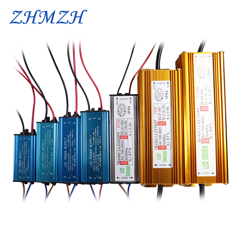 50W 100W High Power Constant Current LED Driver Waterproof IP65 Power Supply AC110-265V Input For Floodlight  DC20-40V Output