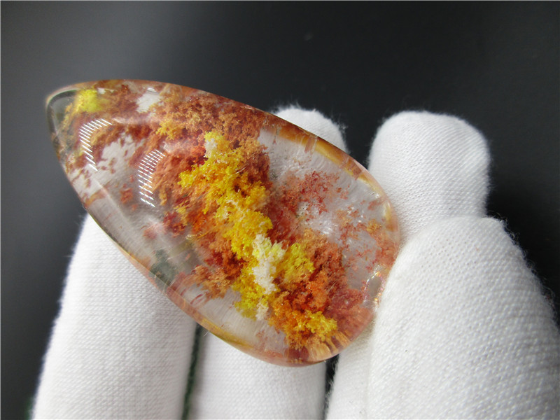 AAA Rare Real Clear Natural Yellow Red Ghost Mineral Garden Crystal Chorite-Crystals Rutilated Stones Reiki Hair Crystal
