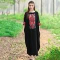 Мода Лето 2016 Старинные Печати Плюс Размер Женщин Случайные Свободные Индии Фестиваль Партия 2016 Маленькое Черное Макси Туника Одежда