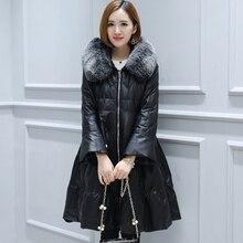 Women Genuine Leather Duck Down Coat 207 New Sheepskin Warm Overcoats Winter Fox fur collar Fashion