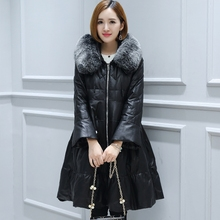 Women Genuine Leather Duck Down Coat 207 New Sheepskin Warm Overcoats Winter Fox fur collar  Fashion