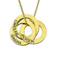 Sweey Dropshipping Custom Russian Circle Necklace 3 Circle Family Necklace Engraved Birthday Gift for Ebay/Amazon/Etsy