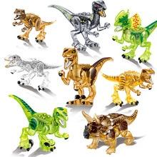 39127 8set Jurassic dinosaur crystal Indominus Rex Velociraptor Indoraptor Triceratop building block Toys