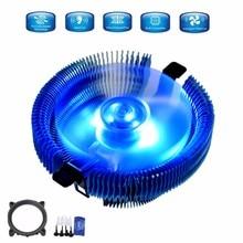 Lo nuevo 12 v cpu led azul del ventilador de refrigeración 110x110x57mm 4pin para intel lga775/115x para amd 754/939/940/am2/am2 +/am3/fm1/fm2