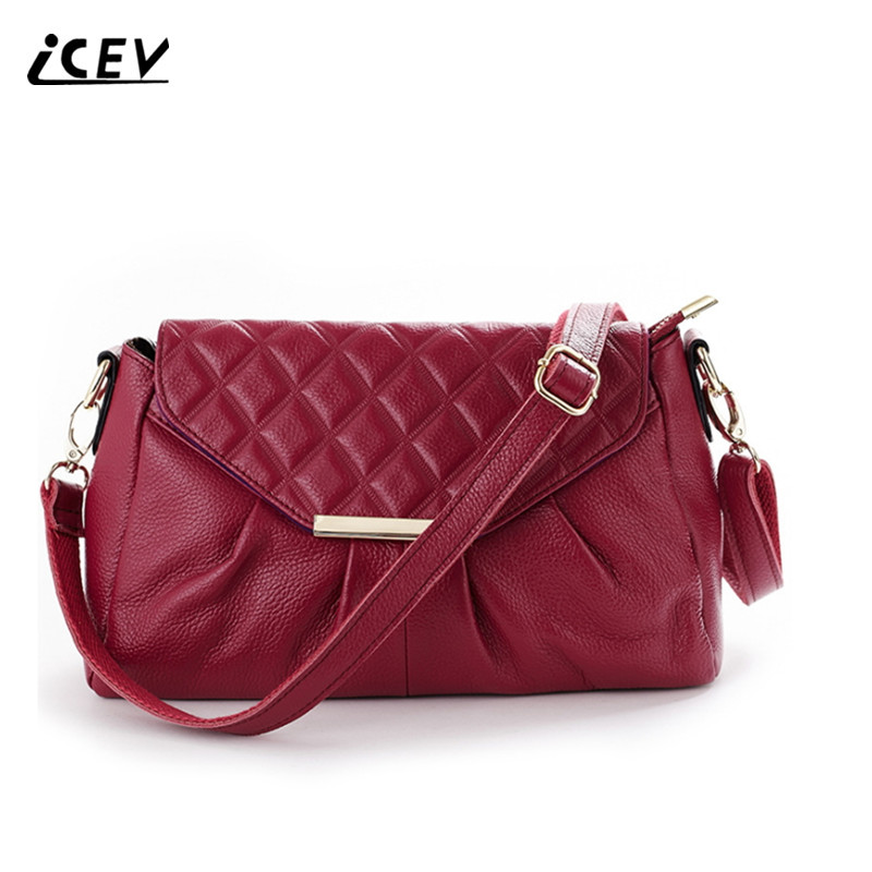 ICEV New Fashion Cow Leather Women Messenger Bags Designer Handbags High Quality Genuine Leather Ladies Ruched Shoulder Bags Sac