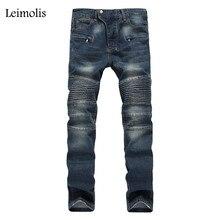 Leimolis дешевые робин байкер джинсы мужчины мода твердые темно-синий плиссированные тонкий середина прямо полная длина брюки