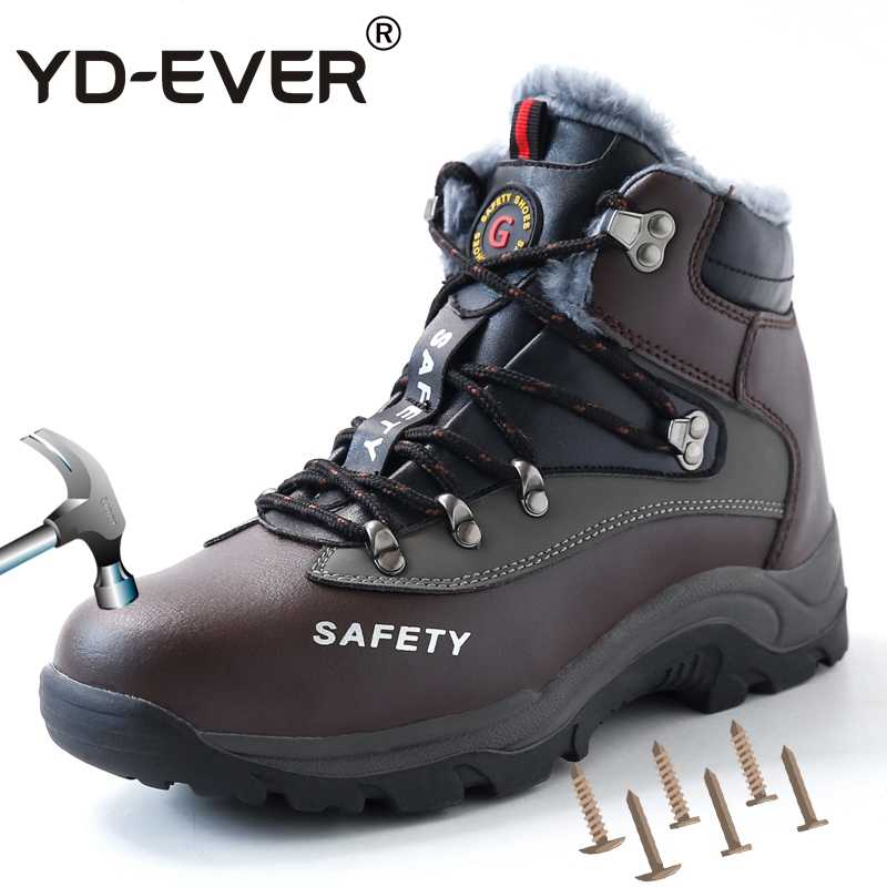 Men Safety Shoes Leather Steel Toe Work