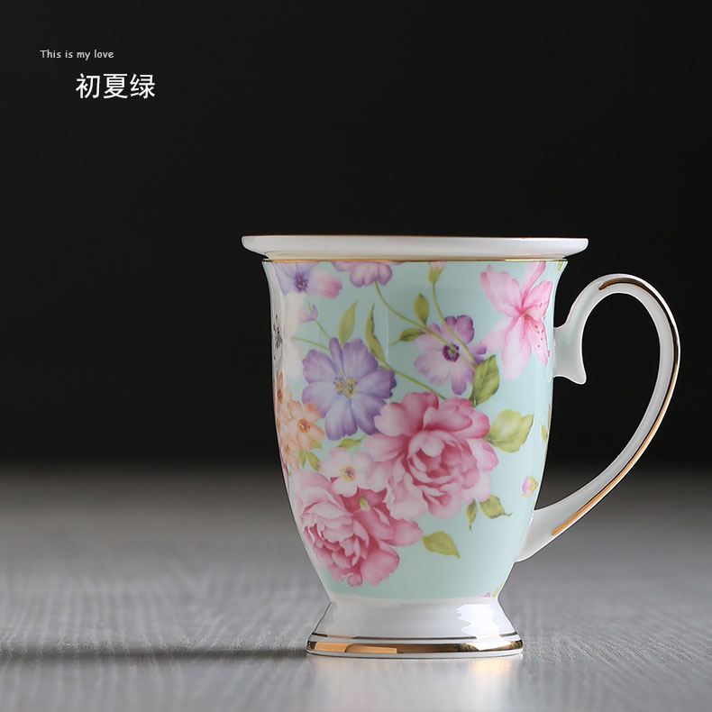 US $14 99 |300 ml Beautiful Flower Pattern Design Ceramic Tea Cups And Mugs  Creative Gift Bone China Cups For Milk Water-in Mugs from Home & Garden on