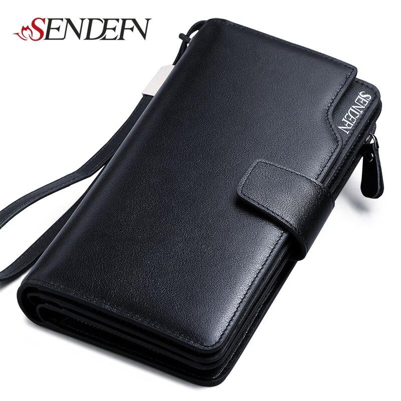 SENDEFN Leather Wallet Long Purse s