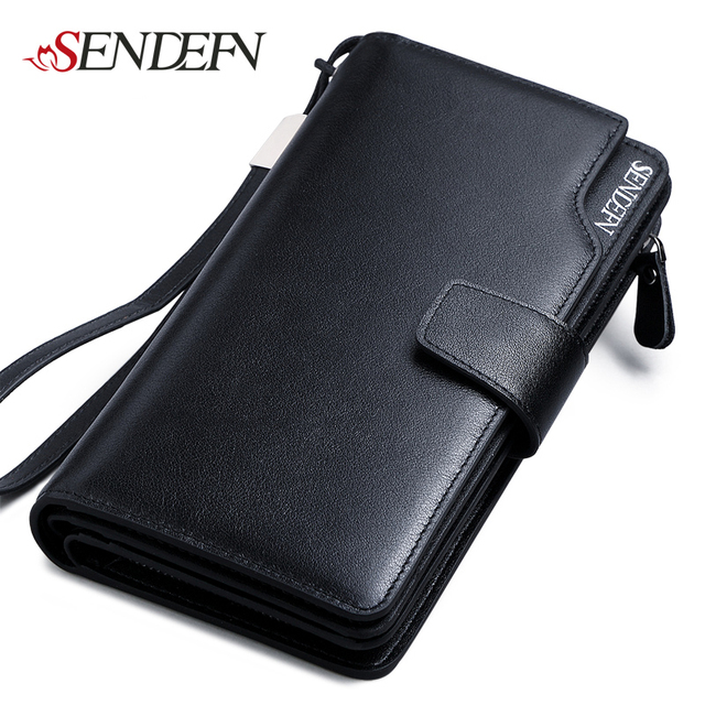 SENDEFN Luxury Genuine Leather Business Wallet Men Zipper Coin Pocket Long Men Purse Card Holder Male Wallet