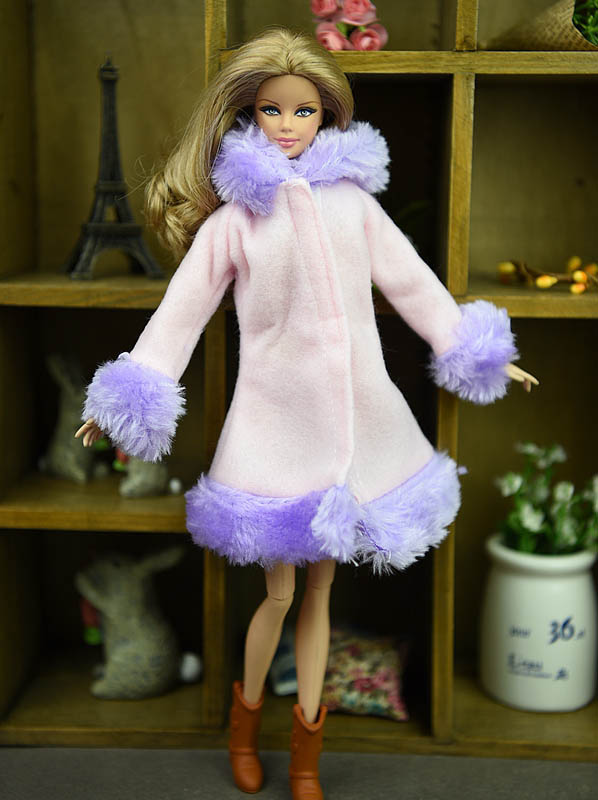 Doll Accessories Winter Wear Warm Coat For Barbie Dolls Fur Doll Clothing Dress Clothes For Barbie 1/6 BJD Doll Kids Toy 1