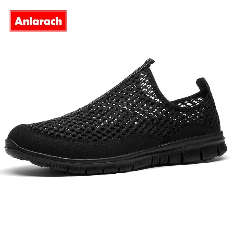 Anlarach hombres zapatos casuales negro 2017 de zapatos de verano de malla red m