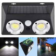 Outdoor Conjoined Double COB LED Rechargeable Solar Power PIR Motion Sensor Wall Light with Optical Len for Garden Yard Driveway