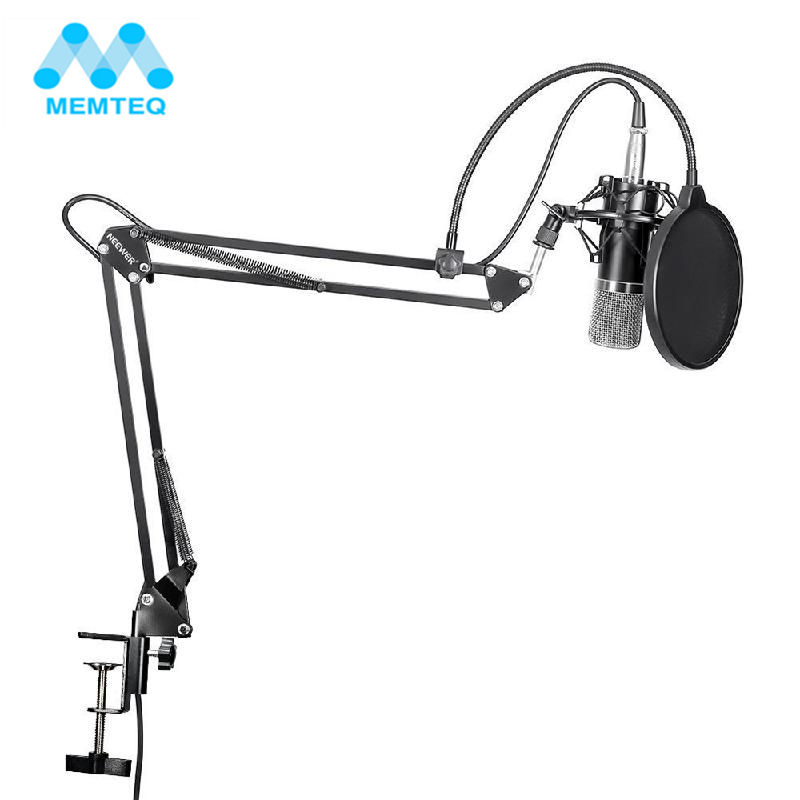 MEMTEQ NW-700 Professional Studio Broadcasting Recording Condenser Microphone Kit With Microphone Stand And Shock Mount New 3 5mm jack audio condenser microphone mic studio sound recording wired microfone with stand for radio braodcasting singing