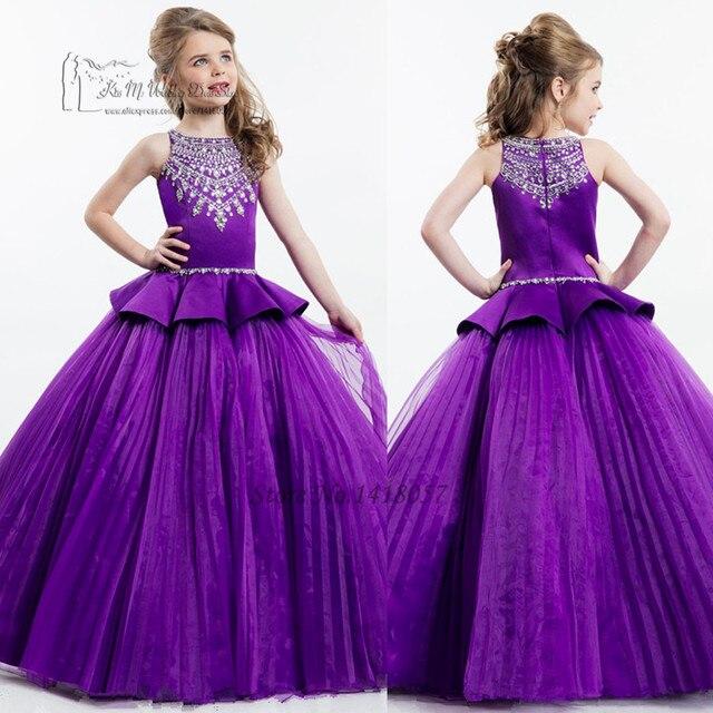 247b3614b Luxury White Purple Girls Pageant Dresses for Girls Glitz Holy ...