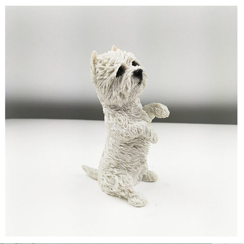 13cm West Highland White <font><b>Terrier</b></font> <font><b>dog</b></font> <font><b>figure</b></font>,car styling home room decoration,love poodle decorative article Christmas gift toy