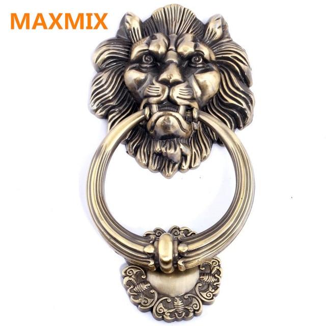 Zinc alloy antique lion head handle vintage style wood door knocker ...