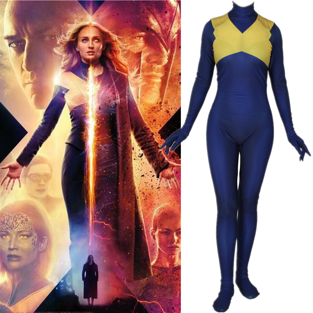 X-Men: Dark Phoenix Jean Grey Cosplay Costume Zentai Bodysuit Suit Jumpsuits