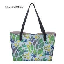 ELVISWORDS Women Tote Large Capacity Shoulder Bag Leaves Printing Ladies Functional Personalized Fashion Handbags For Girls
