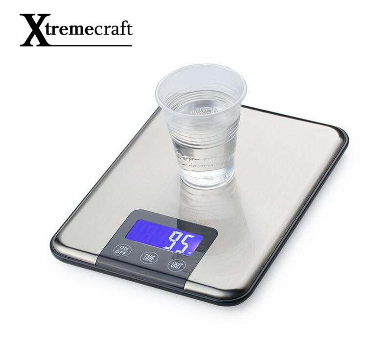 1g Touch Screen Digital Kitchen Scale 15kg Big Food Diet Weight Balance Slim Stainless Steel font