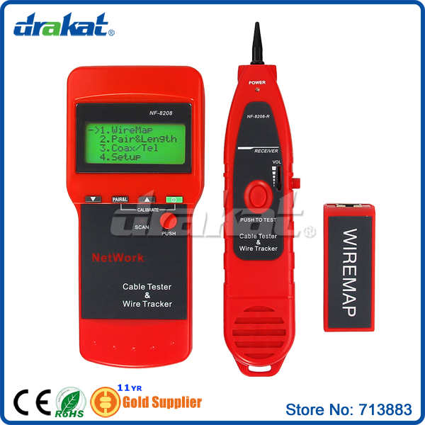 Network Cable Length Tester and LCD Fault Locator RJ45 NF-8208 network lcd length cable tester for rj45 rj11 cable