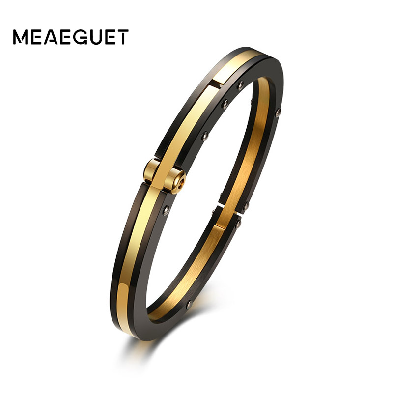 Meaeguet Punk Black Gold Color Removable Cuff Stainless Steel Bracelet Bangle Wristband Pulseira Feminina Jewelry