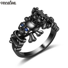 Vecalon 12 styles Wholesale Dropshipping Punk Skull ring 5A cz Party Wedding Band Rings for Women men Black Gold Filled Jewelry(China)