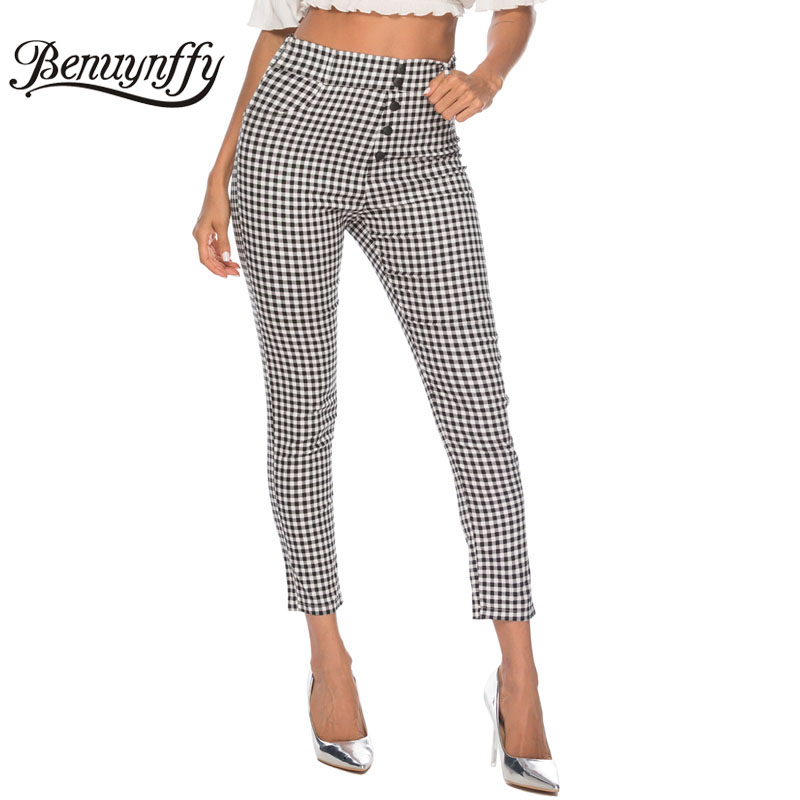 Image 4 - Benuynffy Vintage Button High Waist Plaid Pants Summer Office Lady Workwear Trousers Women Elegant Side Zipper Pencil Pants-in Pants & Capris from Women's Clothing