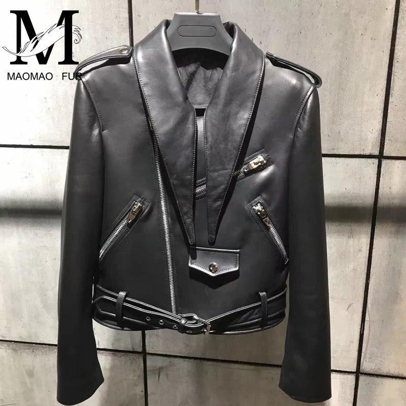 Manteau Style Mouton Femmes Les Black Veste Lady Peau Court En Mode Véritable Moto Mince De Printemps Pour Cuir Fvgxdq6