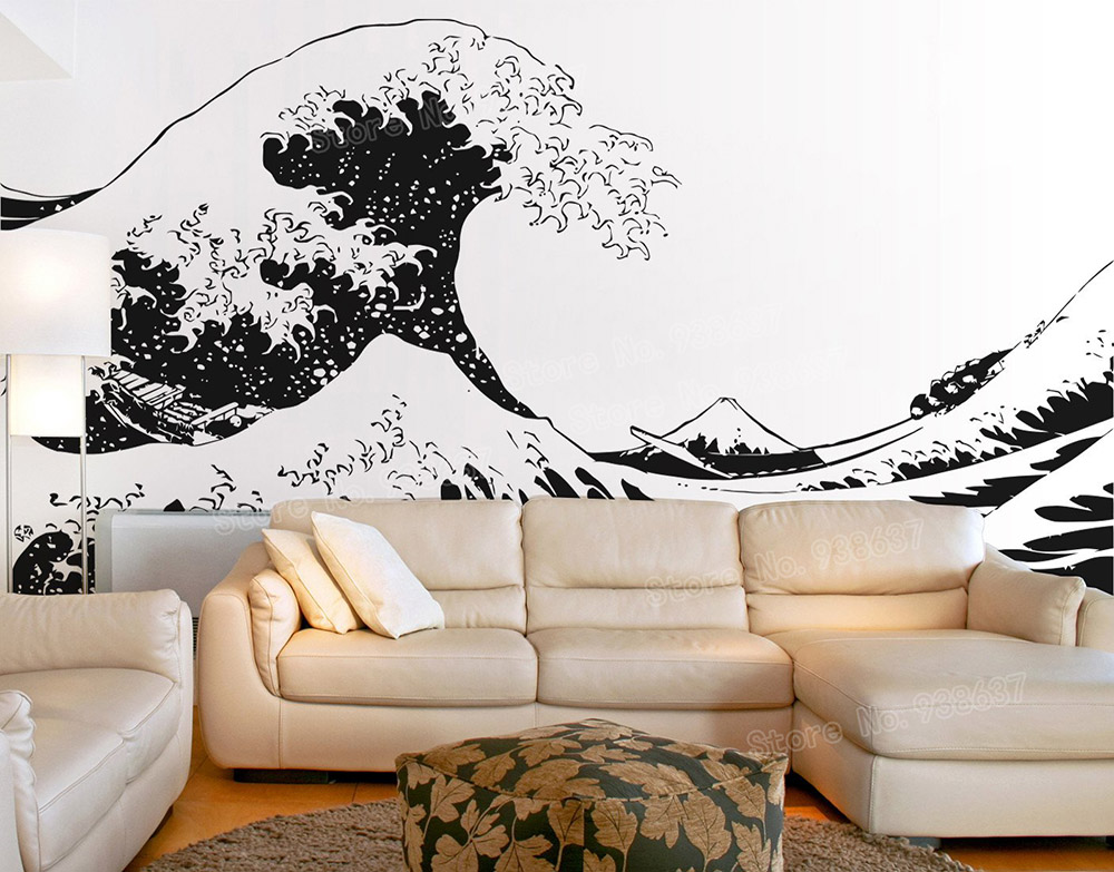 Japanese Vinyl Wall Decals Sticker Katsushika Hokusai Great Wave Off Kanagawa Views Of Mount Fuji Art Stickers Large Size ZB509
