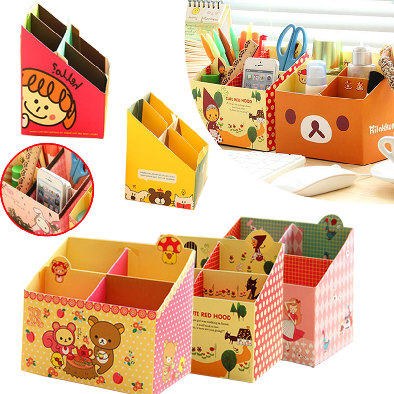 Storage Box Case Paper Office Desk Makeup Cosmetic Stationery Organizer Creative