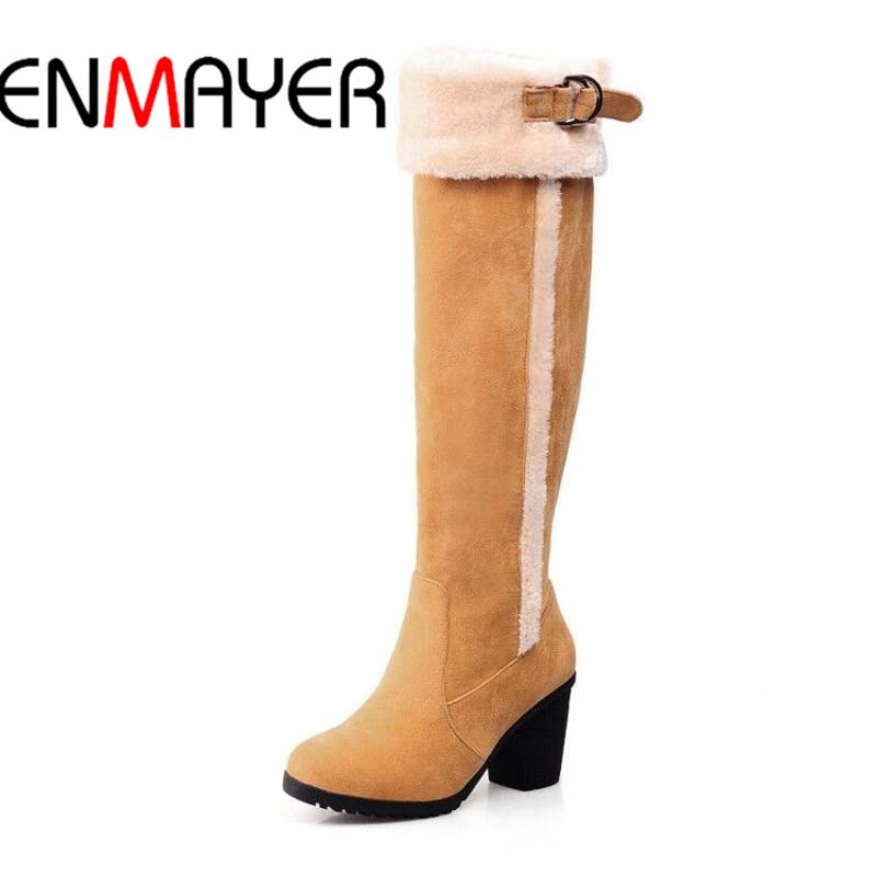 ENMAYER High Quality New Hot  Pointed Toe Snow Boots Buckle Fashion Casual Shoes Boots Long Boots Big Size 34-43 Shoes Women new 2017 spring summer women shoes pointed toe high quality brand fashion womens flats ladies plus size 41 sweet flock t179