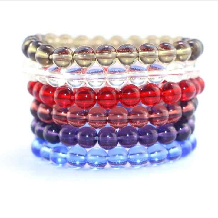 Высокое качество красочные стеклянные бусины прозрачные бусины браслет для женщин мужчин мода простой классический браслет унисекс лучший подарок 2018