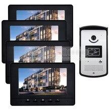 DIYSECUR 7 pulgadas Video de La Puerta de Intercomunicación Teléfono Timbre Seguridad Para El Hogar Sistema de RFID RFID Cámara LED de Visión Nocturna 1 v 4