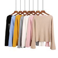 2017 Women Autumn Flare Sleeve Knitted Skinny Tops Sweaters O Neck Loose Fashion Winter Pullovers Feminino