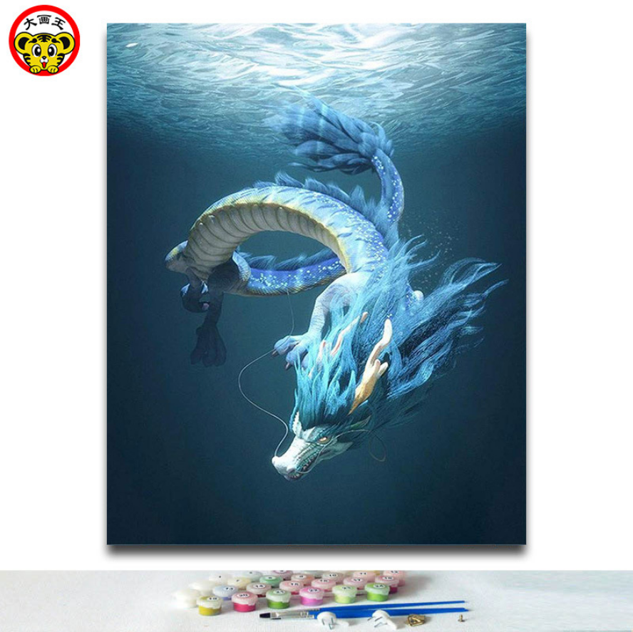 Abstract deep sea dragon Oil painting by numbers Canvas Paintings Wall art modular Picture for corridor living room home decor