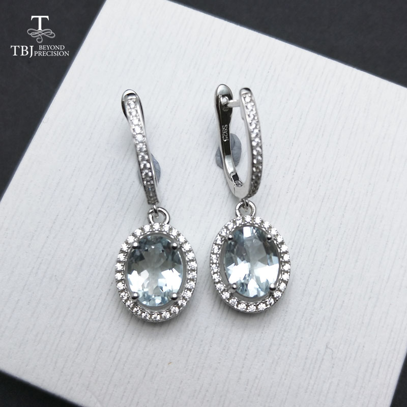 TBJ,new clasp earring with natural brazil aquamarine gemstone jewelry in 925 sterling silver romantic sweet gift for girls women tbj 2017 clasp earring with natural brazil aquamarine in 925 sterling silver jewelry natural gemstone earring classic design