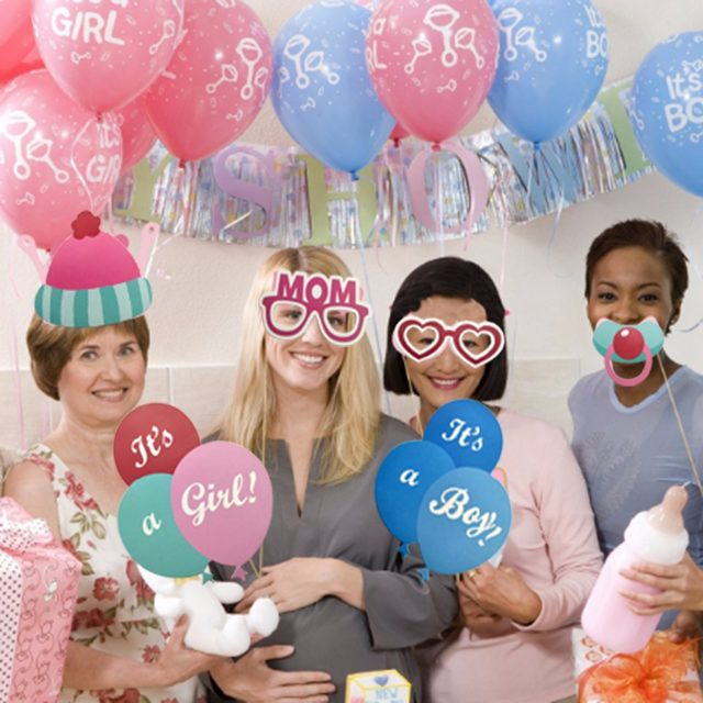 ZOPHIL 25pcs Baby Shower Favors Photo Booth Props Its A Boy Girl Fun  Photobooth Babyshower Birthday Party Decoration Blue Pink