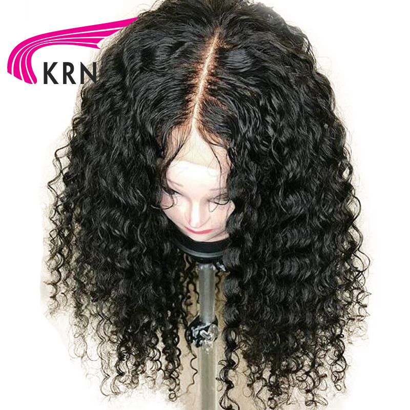 Curly 13X6 Lace Front Wigs With Baby Hair Bleached Knots 130 Density Middle Part Remy Hair Brazilian Human Hair Wigs KRN Hair