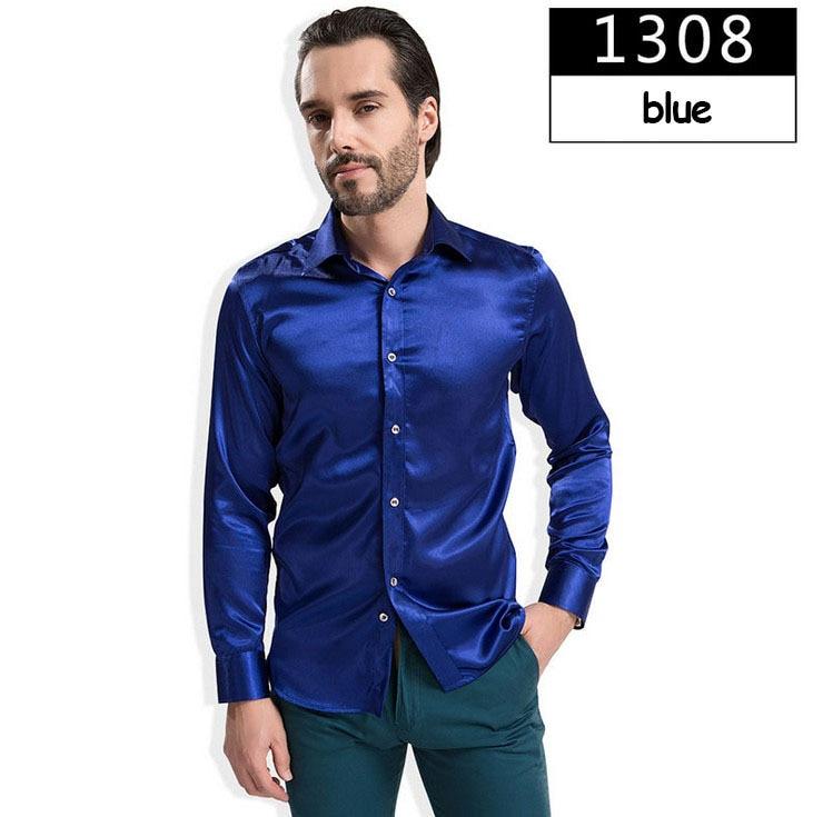 ZOEQO новая рубашка-смокинг для мужчин, 12 цветов, шелковое мужское однотонное платье с длинными рукавами, рубашка с запонками, мужские рубашки camisetas masculinas - Цвет: 1308 blue