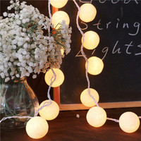 20 Balls Pcs Vintage Sweet Pastel Tone Pure White Cotton Ball String Fairy Lights Party Home