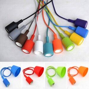 Image 3 - Nowoczesne kolorowe lampy wiszące jadalnia lampy wiszące krzemionka materiał żelowy trzynaście kolorów uchwyt E27