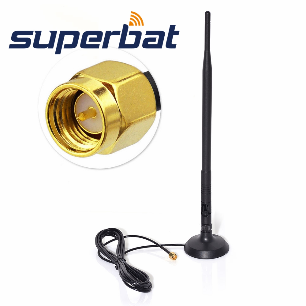 Superbat 2.4GHz 9DBI SMA Antenna WiFi/GSM/3G/4G LTE Wide Band High Gain Omni Directional Wireless Signal Booster Amplifier Modem