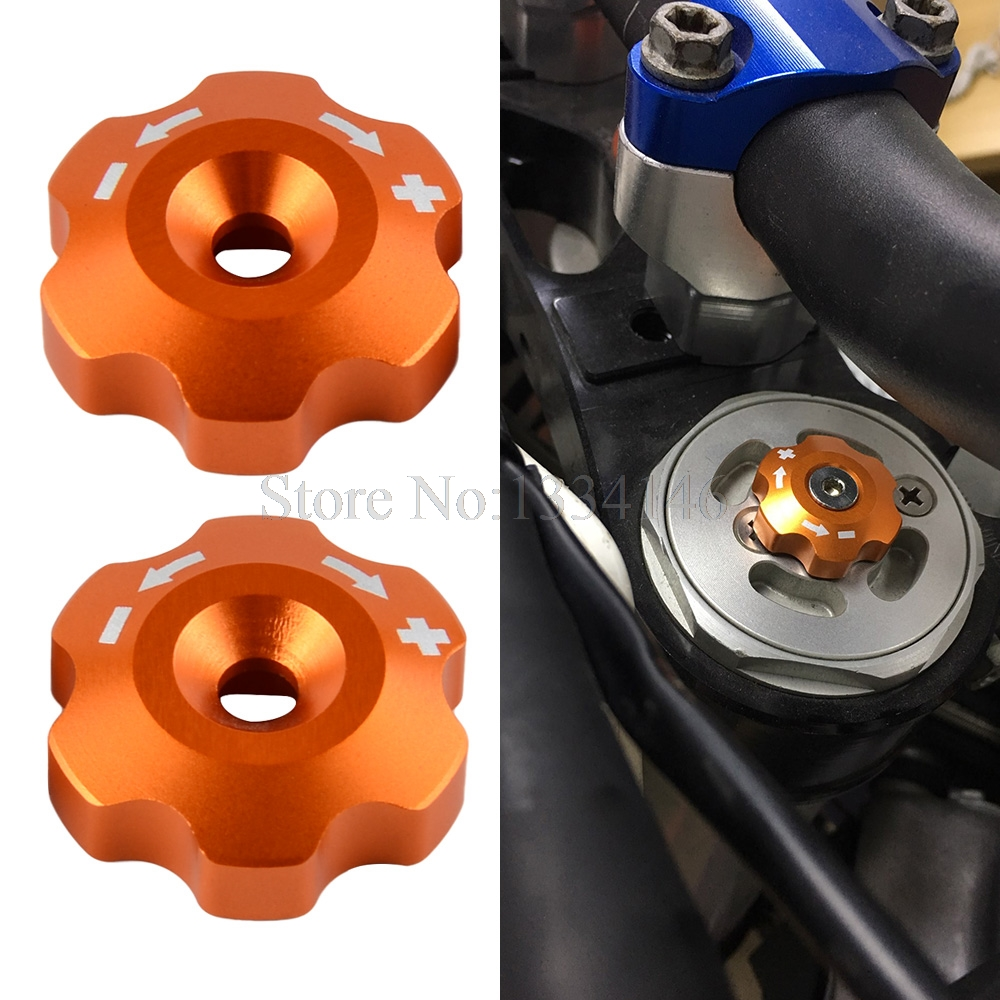 NICECNC Front Fork Knob Adjuster For 48mm WP Fork KTM 125 200 390 640 690 990 1090 1190 1290 Enduro Duke SMC Adventure Supermoto universal motorcycle accessories gear shifter shoe case cover protector for ktm duke 125 200 390 690 990 350 1290 adventure exc