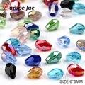 Top qualidade 100 pcs Waterdrop Facetada grânulos de cristal Austríaco 6*8mm Teardrop grânulos de vidro para fazer jóias pulseira frete grátis