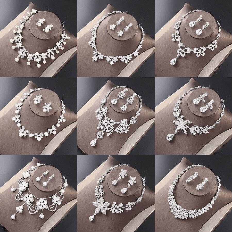 Colar de noiva brincos de lujo strass joia de cristal Acessorios Do Casamento colar brincos conjunto de joias mujeres bijoux