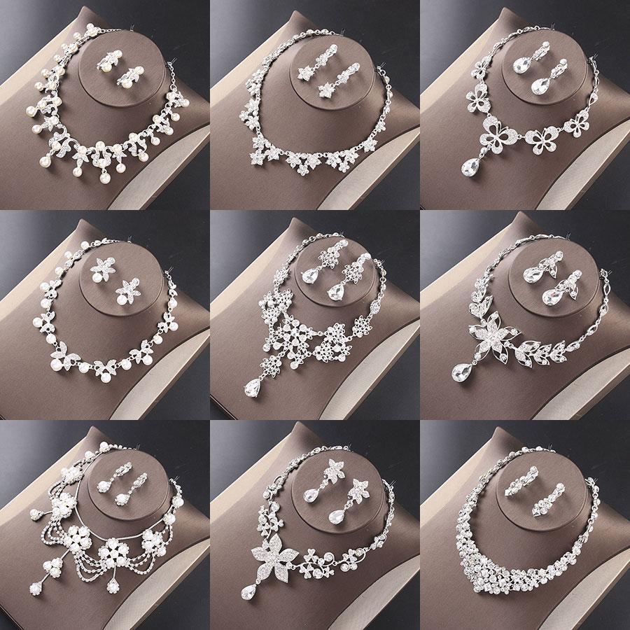 Joia de cristal Colar de noiva brincos de luxo strass colar Do Casamento brincos conjunto de mulheres bijoux joias Acessorios